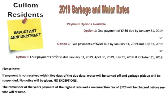 2019 garbage water rates